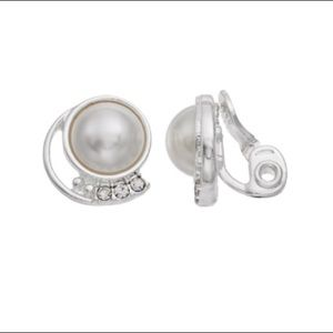 Napier Simulated Pearl Cabochon Clip On Earrings